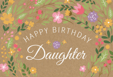Birthday Daughter Card Happy Flowers Kraft