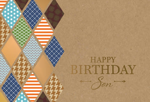 Birthday Son Card Diamond Pattern Kraft