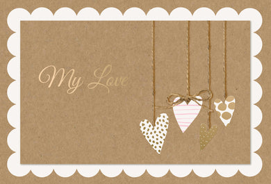 Birthday One I Love Card Hanging Hearts Kraft