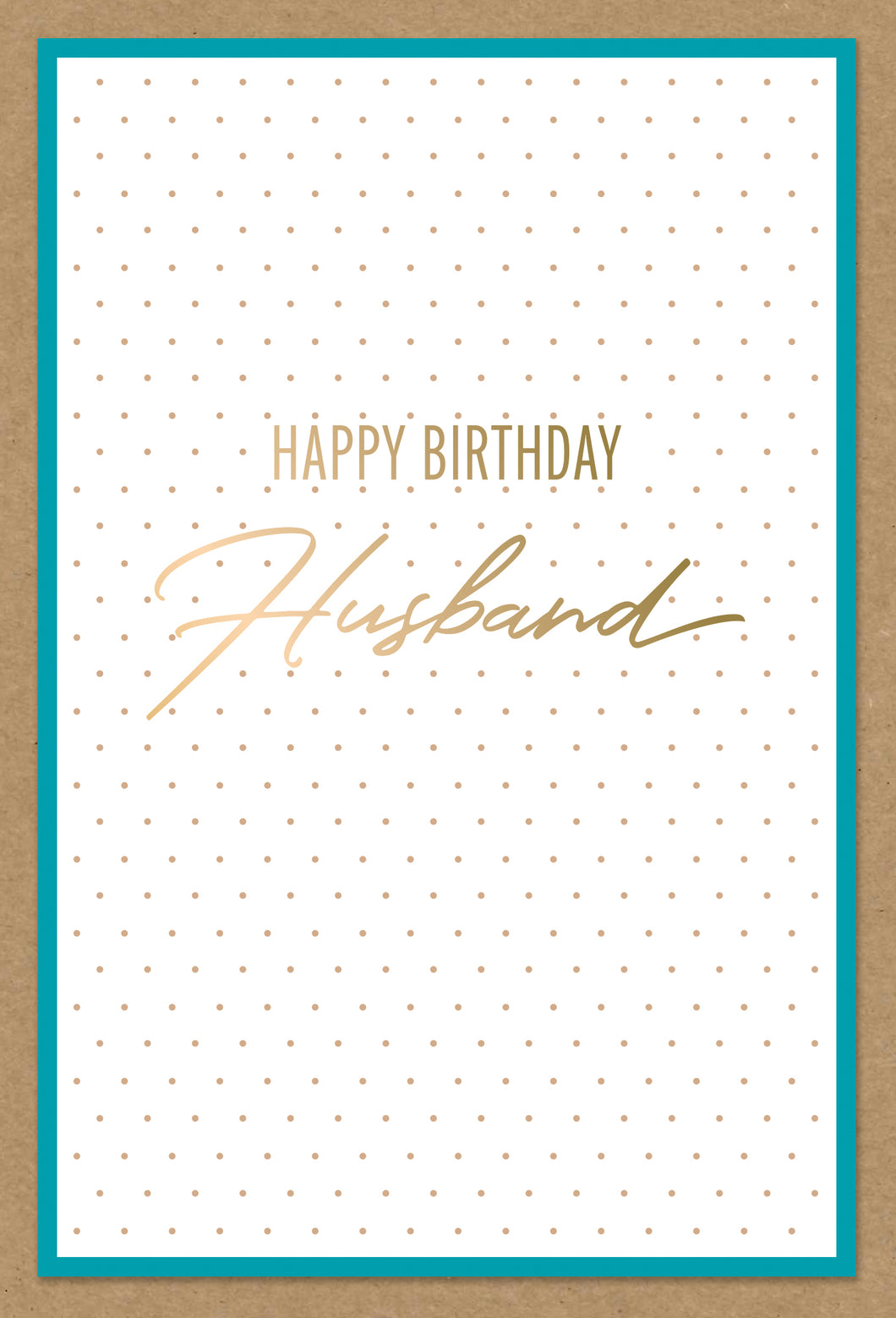 Birthday Husband Card Dots Kraft