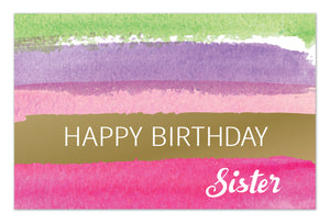 Birthday Sister Card Arty Stripes Kraft