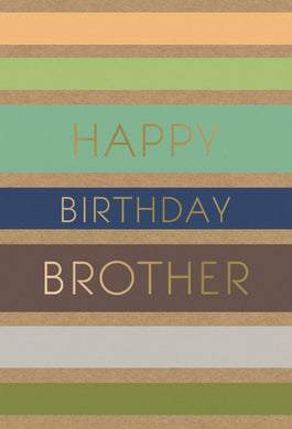 Birthday Brother Card Earthy Stripes Kraft