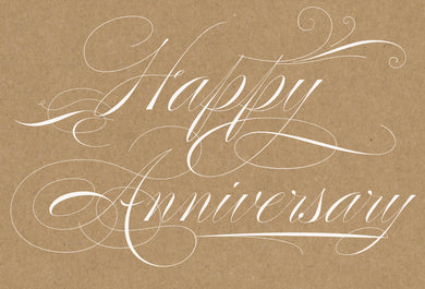 Anniversary Card Calligraphy Kraft