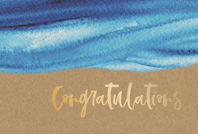 Congratulations Card Brushstrokes Kraft
