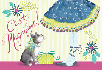 Birthday Card French Bulldog Patchwork