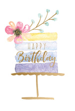 Birthday Card Watercolor Striped Cake