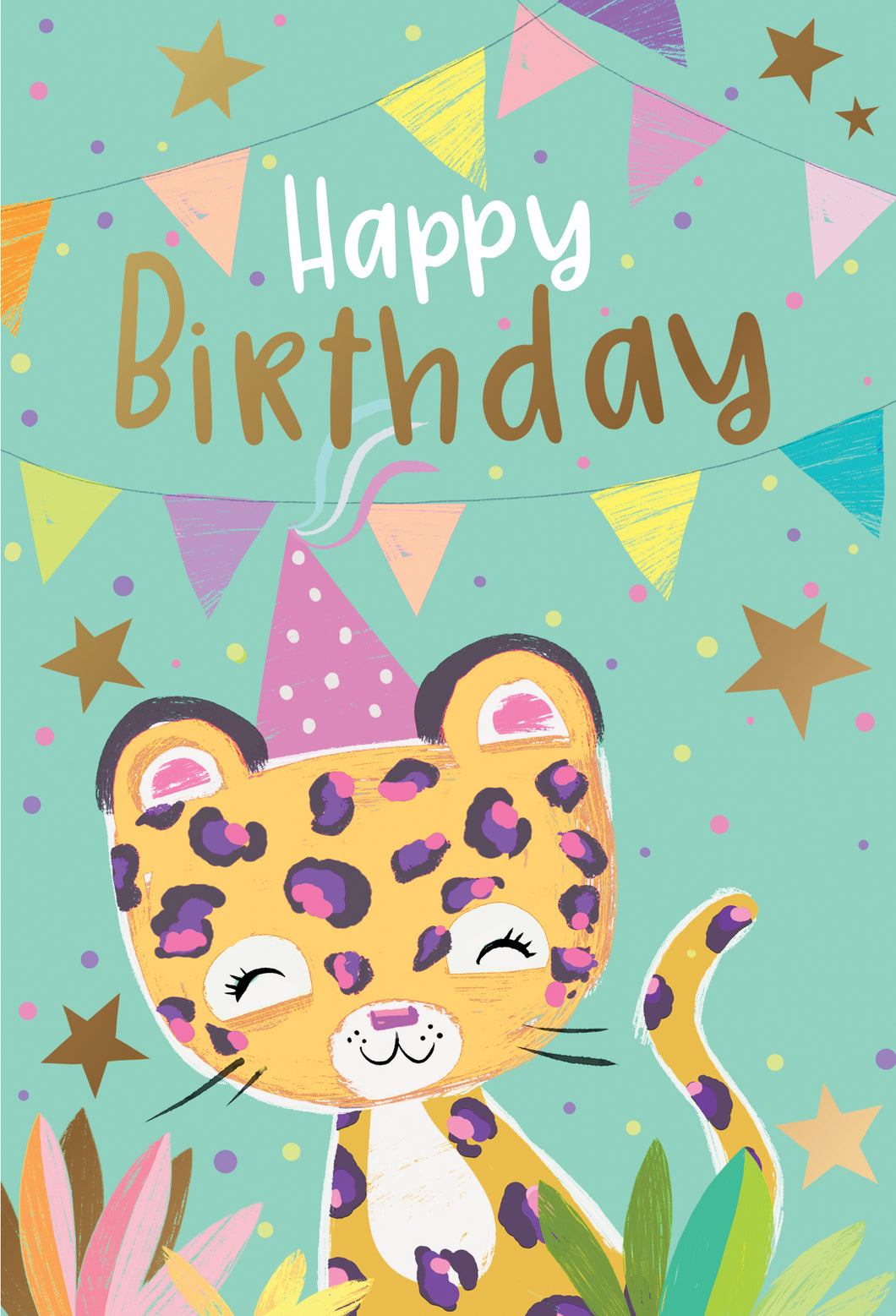 Birthday Child Card Party Leopard