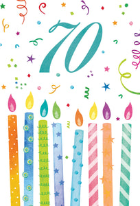 70th Birthday Card with Colorful Candles