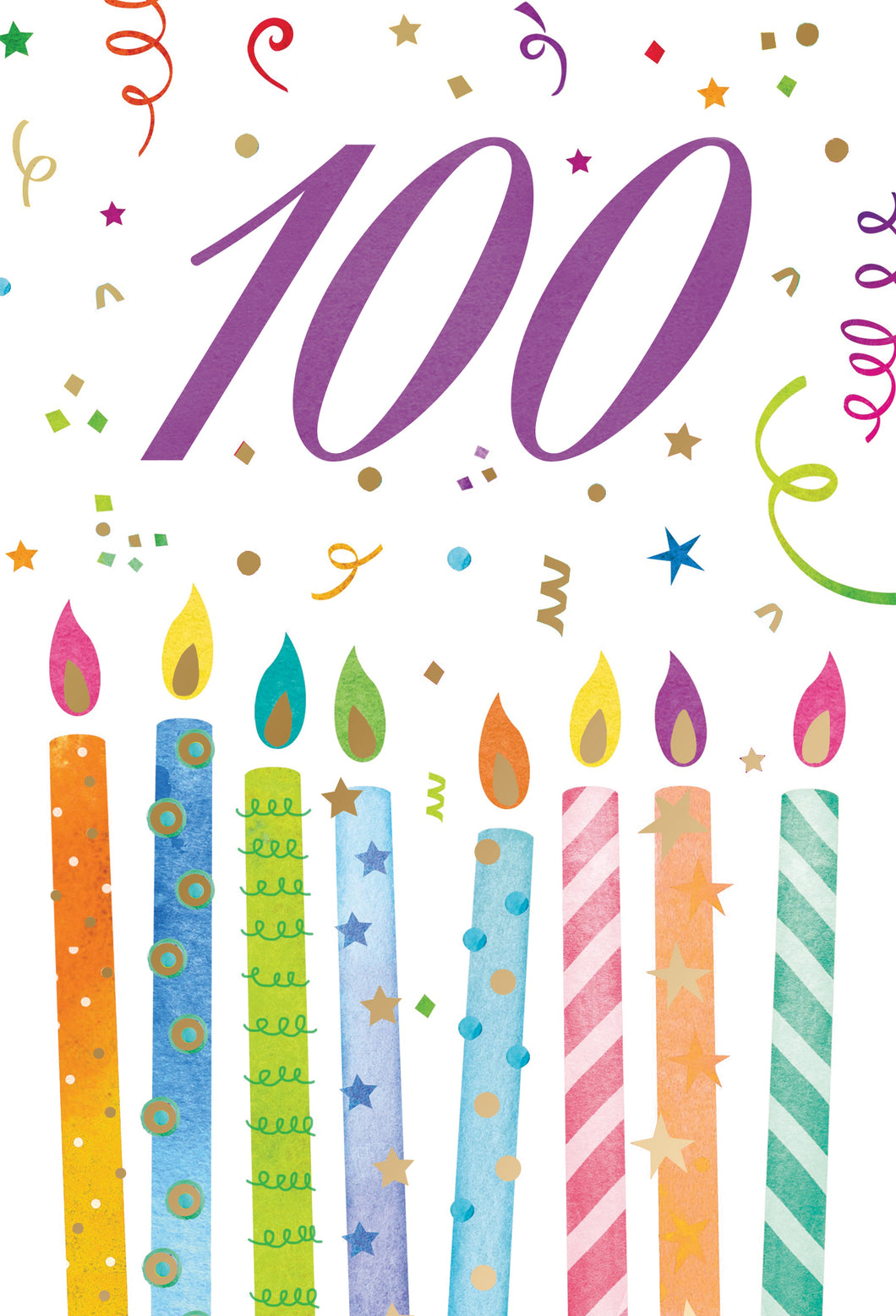 100 Birthday Card with colorful candles