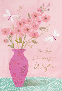 Birthday Wife Card Tall Vase Of Blossoms