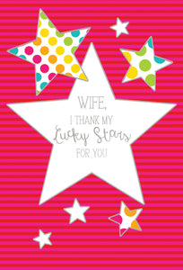 Birthday Wife Card Colorful Stars