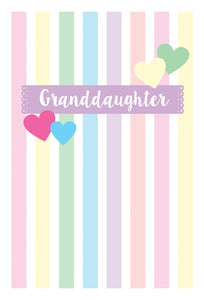 Birthday Granddaughter Card Pastel Stripes