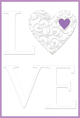 Anniversary Card Love white and purple