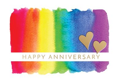 Anniversary Card with rainbow colors and hearts