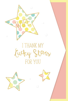 Wife Anniversary Card Colorful Stars