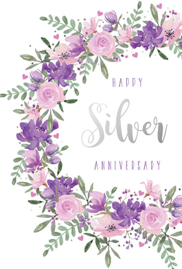 Anniversary Card 25th Silver Flowers