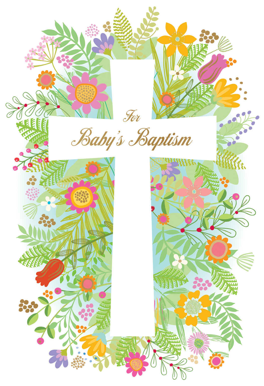 Baptism Card Floral Bloom Cross