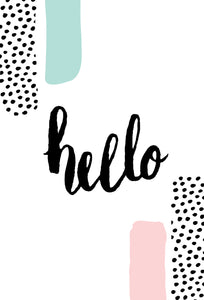 Blank Note Card Hello Dots & Stripes