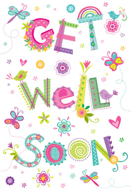 Get Well Card Colorful Text