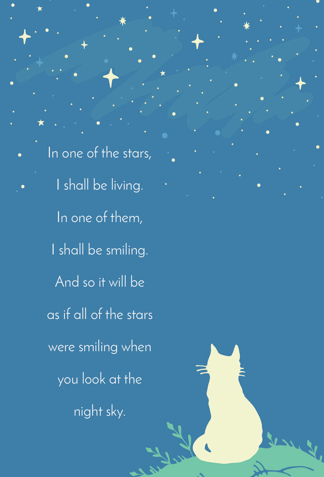 Sympathy Card Cat Watching Stars