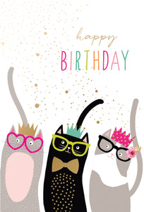 Royally Purr-fect Cats with glasses Birthday Card Sara Miller