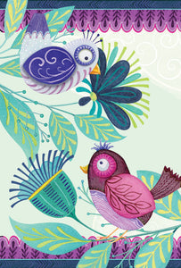 Two Patterned Birds Birthday Card Friendship Patchwork