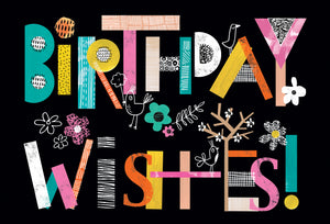 Birthday Wishes Colorful Letters Birthday Card