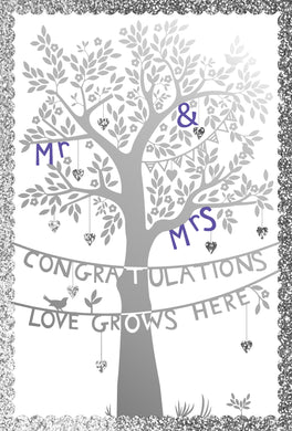 Tree And Banners Silhouette Wedding Cards