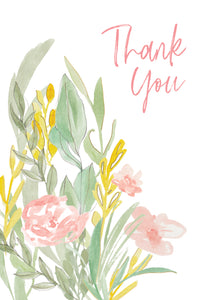 Muted Watercolor Flowers Thank You Card