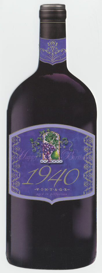 Vintage Year Birthday Wine Bottle Card 1940