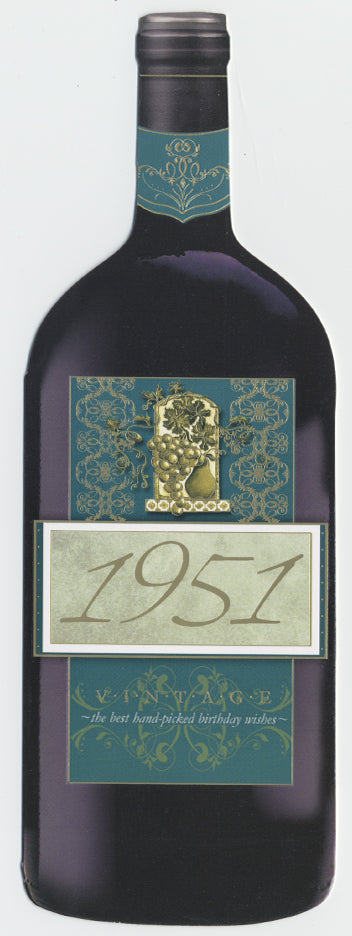 Vintage Year Birthday Wine Bottle Card 1951
