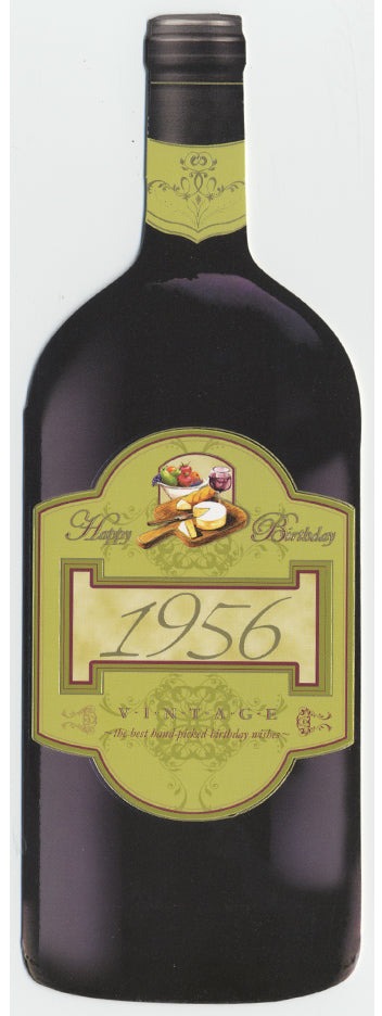 Vintage Year Birthday Wine Bottle Card 1956