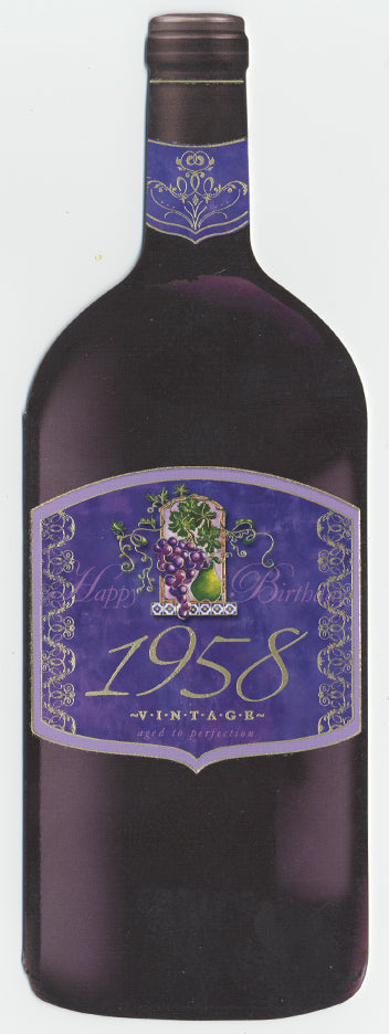 Vintage Year Birthday Wine Bottle Card 1958