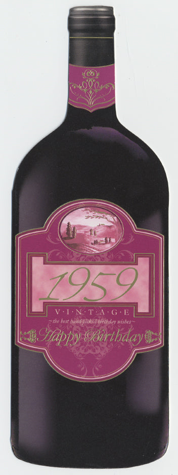 Vintage Year Birthday Wine Bottle Card 1959