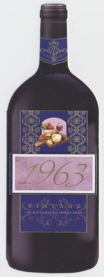 Vintage Year Birthday Wine Bottle Card 1963
