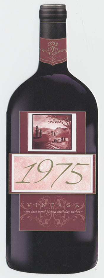 Vintage Year Birthday Wine Card 1975