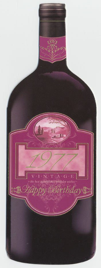 Vintage Year Birthday Wine Bottle Card 1977