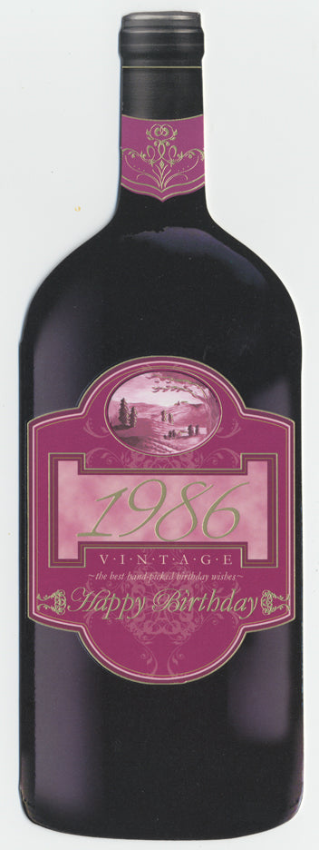 Vintage Year Birthday Wine Bottle Card 1986