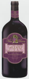 Vintage Year Birthday Wine Bottle Card 1989