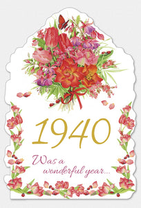 Year Of Birth Birthday Card 1940