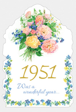 Year Of Birth Birthday Card 1951
