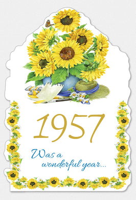 Year Of Birth Birthday Card 1957