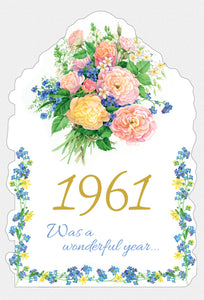 Year Of Birth Birthday Card 1961