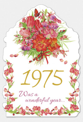 Year Of Birth Birthday Card 1975