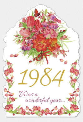 Year Of Birth Birthday Card 1984