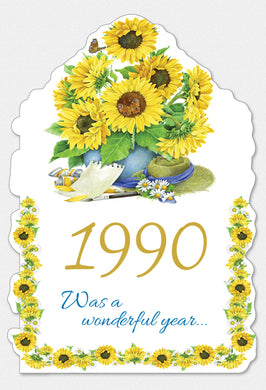 Year Of Birth Birthday Card 1990