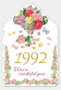 Year Of Birth Birthday Card 1992