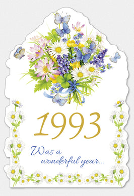 Year Of Birth Birthday Card 1993