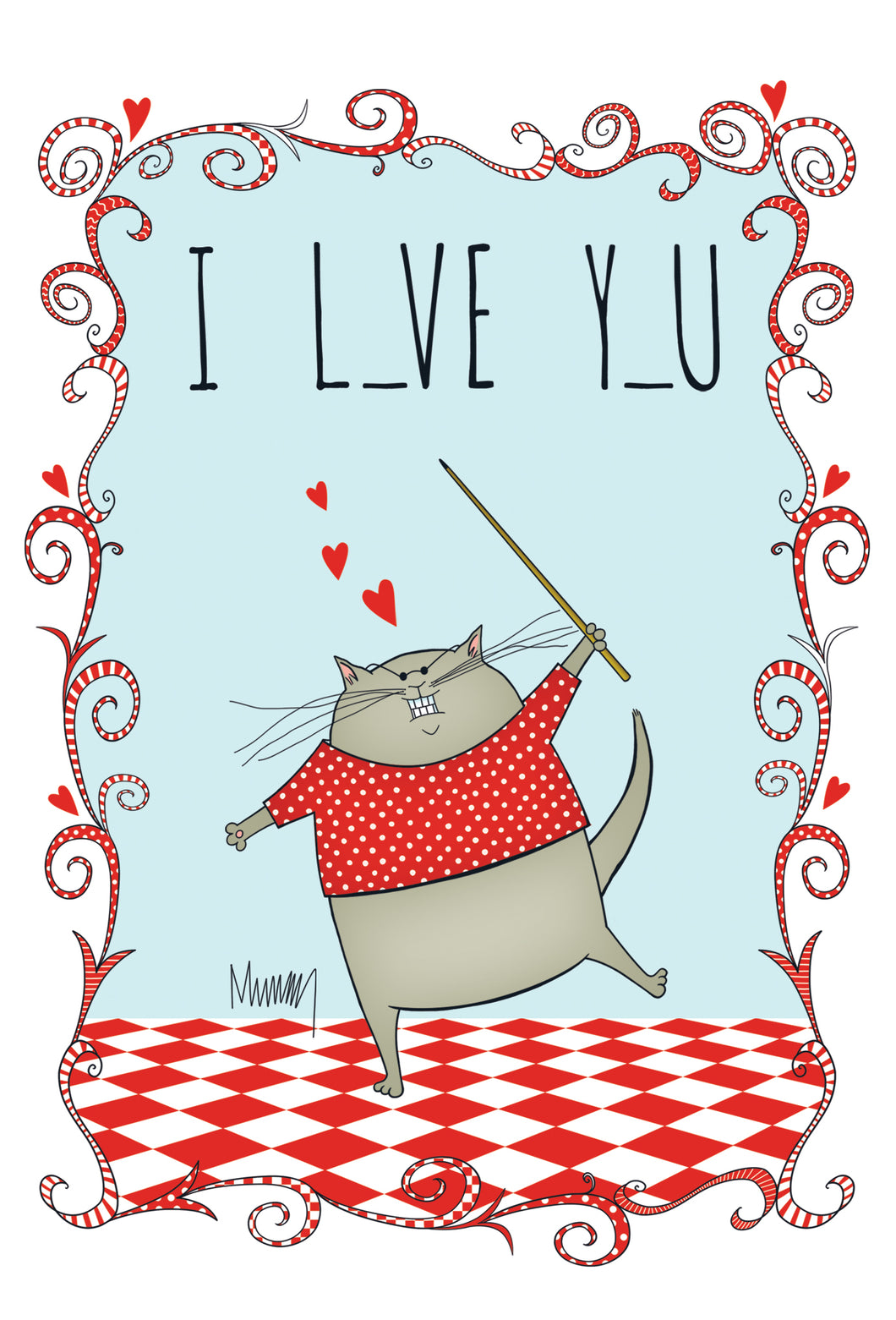 Funny Valentine's Day Card I L__VE Y_U Leslie Murray - Cardmore