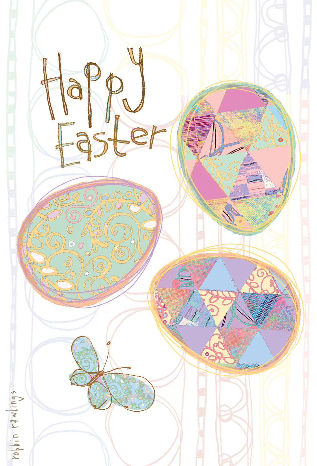 Easter Card Easter Eggs and Butterfly